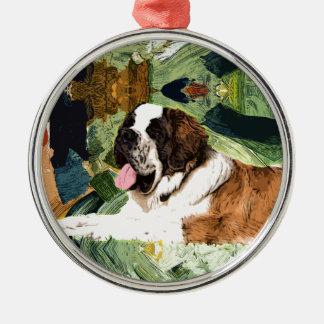 Saint Bernard Dog Silver-Colored Round Ornament