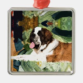 Saint Bernard Dog Silver-Colored Square Ornament