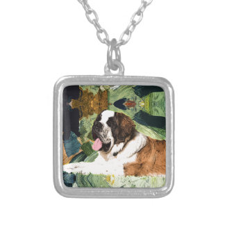 Saint Bernard Dog Silver Plated Necklace