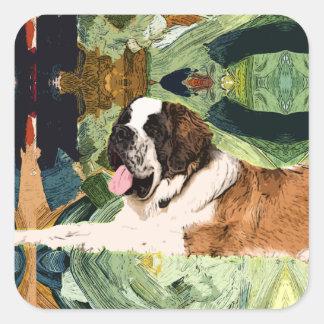 Saint Bernard Dog Square Sticker