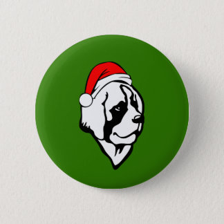 saint Bernard Dog with Christmas Santa Hat 2 Inch Round Button