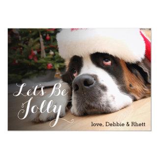 Saint Bernard dog with Santa Hat Card
