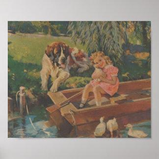 Saint Bernard, Ducks, Little girl in boat Poster