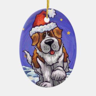 Saint Bernard Holiday Ceramic Ornament