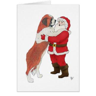 Saint Bernard Jowly Christmas Greeting Card