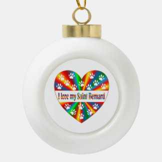 Saint Bernard Love Ceramic Ball Ornament