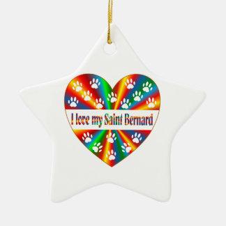 Saint Bernard Love Ceramic Star Ornament