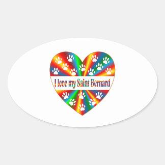 Saint Bernard Love Oval Sticker