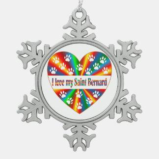 Saint Bernard Love Pewter Snowflake Ornament