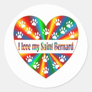 Saint Bernard Love Round Sticker