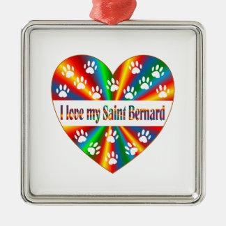 Saint Bernard Love Silver-Colored Square Ornament