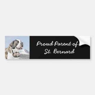 Saint Bernard Painting - Cute Original Dog Art Bumper Sticker