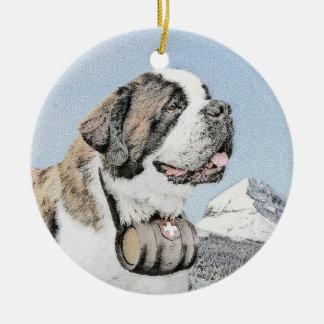 Saint Bernard Painting - Cute Original Dog Art Ceramic Ornament