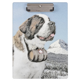 Saint Bernard Painting - Cute Original Dog Art Clipboard