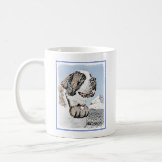 Saint Bernard Painting - Cute Original Dog Art Coffee Mug