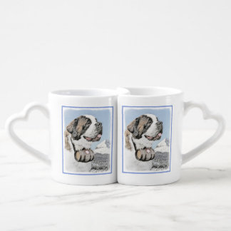 Saint Bernard Painting - Cute Original Dog Art Coffee Mug Set