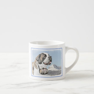 Saint Bernard Painting - Cute Original Dog Art Espresso Cup