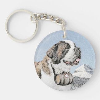 Saint Bernard Painting - Cute Original Dog Art Keychain