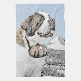 Saint Bernard Painting - Cute Original Dog Art Kitchen Towel
