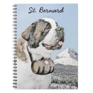 Saint Bernard Painting - Cute Original Dog Art Notebook
