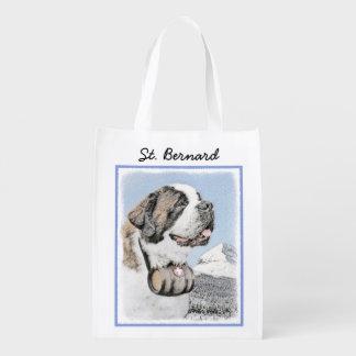 Saint Bernard Painting - Cute Original Dog Art Reusable Grocery Bag