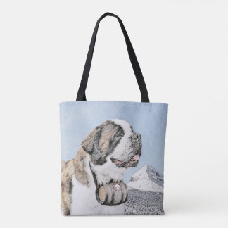 Saint Bernard Painting - Cute Original Dog Art Tote Bag