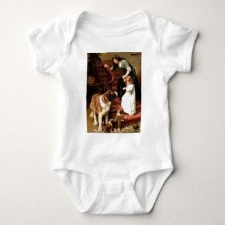 saint bernard puppies dog mother girl Elsley Baby Bodysuit