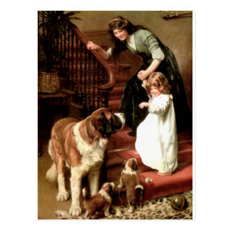 saint bernard puppies dog mother girl Elsley Postcard