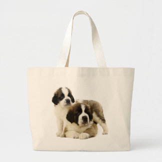Saint Bernard Puppy Dog -  Love St. Bernard Large Tote Bag