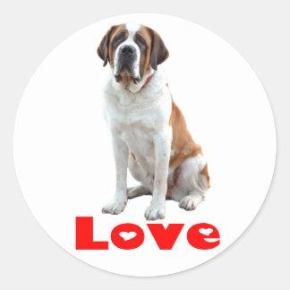 Saint Bernard Puppy Dog Red Love Heart Round Sticker