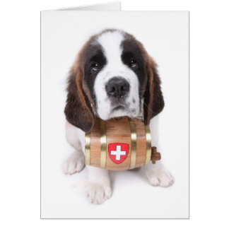 Saint Bernard puppy with a rescue barrel note card