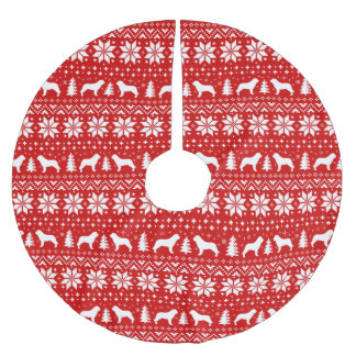 Saint Bernard Silhouettes Christmas Pattern Brushed Polyester Tree Skirt