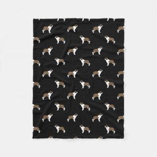 Saint Bernard Silhouettes Pattern Fleece Blanket