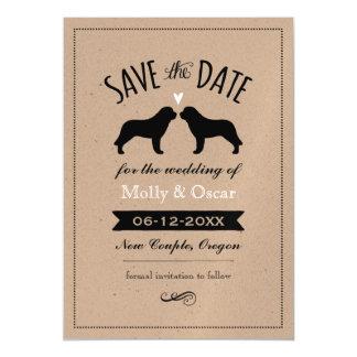Saint Bernard Silhouettes Wedding Save the Date Magnetic Invitations
