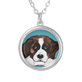 Saint Bernard Silver Plated Necklace