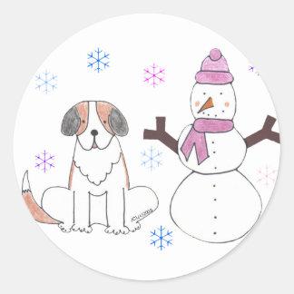Saint Bernard & Snowman Round Sticker