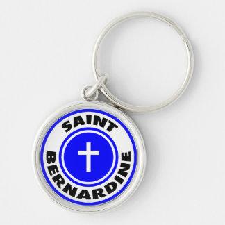 Saint Bernardine Silver-Colored Round Keychain