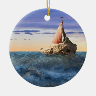 Saint Brendan's Boat Ceramic Ornament