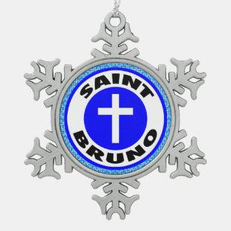 Saint Bruno Snowflake Pewter Christmas Ornament