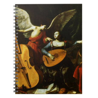 Saint Cecilia and the Angel by Carlo Saraceni Spiral Notebook