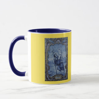 Saint Christopher Blue Tile Coffee Mug