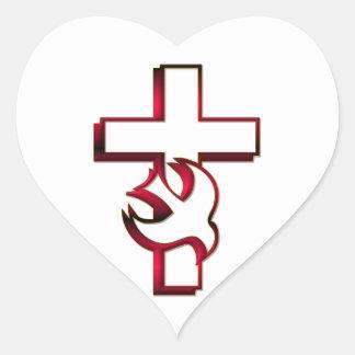 Saint-Esprit croisé et/Saint-Esprit Sticker Cœur