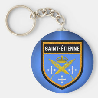 Saint-Étienne Flag Basic Round Button Keychain