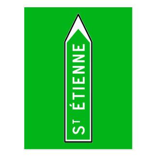 Saint-Étienne, Road Sign, France Postcard