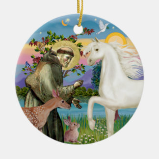 Saint Francis - Arabian Horse (white) Ceramic Ornament