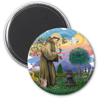 Saint Francis - Black Persian Cat Magnet
