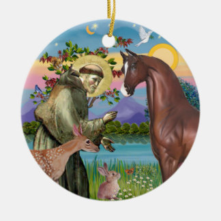 Saint Francis - Horse (chestnut) Ceramic Ornament