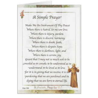 Saint Francis of Assisi A SIMPLE PRAYER for Peace Card