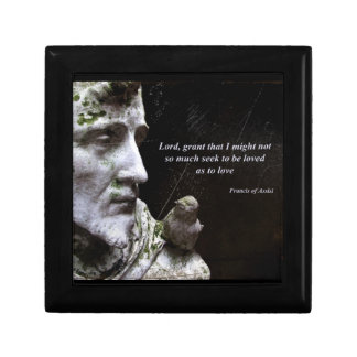 Saint Francis of Assisi and Bird Quote Trinket Box