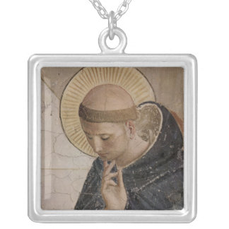 Saint Francis of Assisi  in Contemplation Silver Plated Necklace